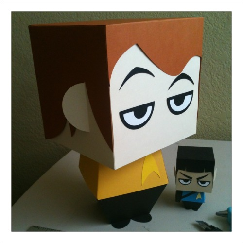 "SUPERSIZE ME! 11"" Captain Kirk Gift Box Display. http://scissorsandclay.etsy.com"