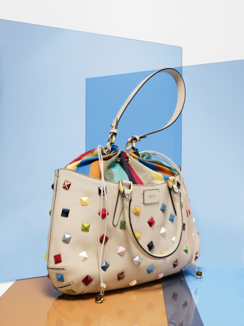 Sports Influence: Fendi Studded One + One Drawstring-Top Satchel