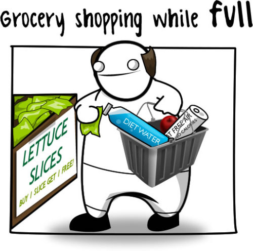 Hahaha! Always get groceries after eating!