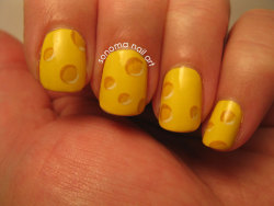 sonomabento:  Cheeeeeese! My swiss cheese nails for the Artisan Cheese Festival. Read more on my blog.