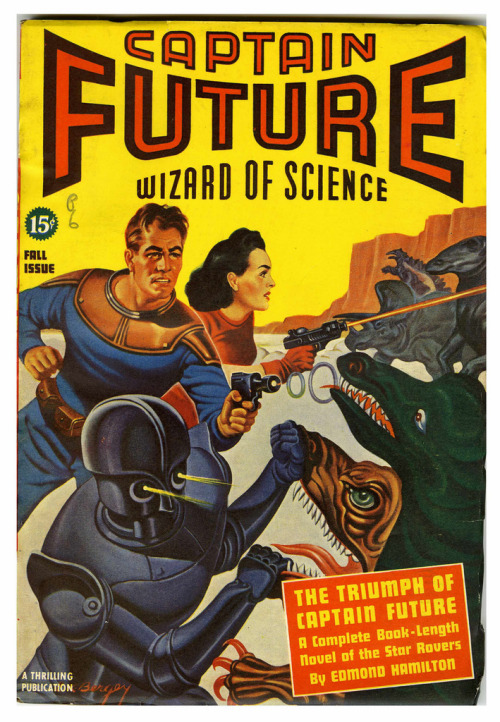 "The fantastic cover illustration for ""Captain Future - Wizard of Science"" by Edmond Hamilton"