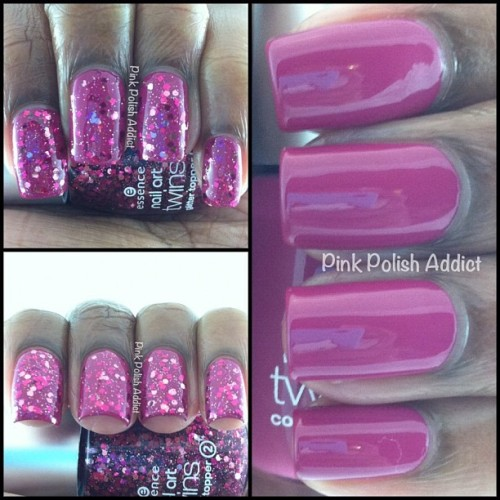 Essence Twins Carrie & Mr. Big. Mr. Big is a pretty dark magenta pink with strong berry undertones. Carrie is a clear base packed with dark pink, light pink, purple, magenta, and silver hexes, regular, small, and square glitter ✨💗💅 Was trying to wait until tomorrow but couldn't lol! (Taken with instagram)