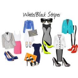Stripes: White/Black A fun trend that's always in season is stripes! this post focuses specifically on white/black stripe items. White/black stripes are easy to pair things with since it is a neutral print. White is a neutral color and so is black, so you can pair it with mostly any color you want. *I will say, I'm not the biggest fan of white/black stripes with tan, camel, khaki, brown, etc. I think the brown shades look better with either black or white, not both* You can also either mix with different colors, or if you like to keep it more neutral, stick to just pairing it with one color or just use a black and/or white palette.  Dorothy Perkins navy dress, $69Cable cardigan, £75Tie neck blouse, £195Smythe long blazer, $940Rag bone neon jacket, $450Ribbon Stripe Panel Bodycon Dress, £25Skirt, $49Cacharel pleated skirt, $375Jane Norman body con skirt, £32Harem pants, £6Wallis blue patent leather pumps, $61Carvela high heel shoes, £120Fergie yellow pumps, $70Michael Antonio platform heels, $50Charlotte Olympia high heel pumps, $950Salvatore ferragamo shoes, £255Zagliani crocodile wallet, $2,550River Island black handbag, £25Cat eye sunglasses, $12