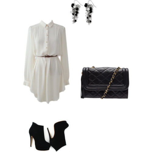 Untitled #9 by jai81 featuring quilted handbagsLong sleeve shift dress, $123Black sandals, $142Chanel quilted handbag, £1,279White House Black Market cluster earrings, $24