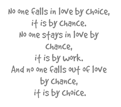 No on falls in love by choice, it is by chance.