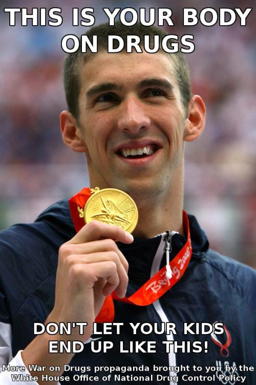 phelps smokes weed everyday and still gets a gold medal lol