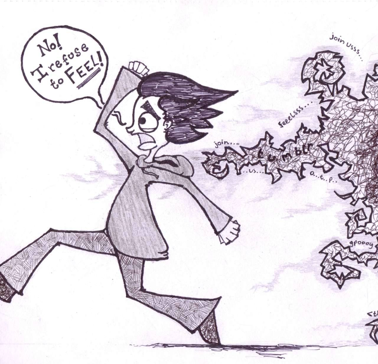 Me, running from tumblr.Basically, I wanted to visualise how I feel about fandoms, and specifically tumblr-based fandoms.I METAPHORICALLY RUN AWAY IN FEAR.This is a simplified version of the idea - Hopefully one day I'll have the skill to properly convey what I envisioned.