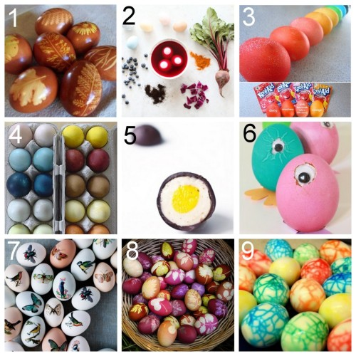 Nine DIY Easter Egg Ideas. Tutorials using natural dyes, leaves, temporary tattoos, chocolate, Kool-Aid, googly eyes, and my favorite - dinosaur eggs. DIY Onion Skin Dye Leaf Print Eggs here. Dying Easter Eggs with Vegetables and Fruit here. DIY Kool-Aid Eggs here.   DIY Naturally Dyed Eggs with Color Dye Chart here. Homemade Cadbury Creme Eggs here. DIY Googly Eye Easter Eggs here.   DIY Tattoo Paper Easter Eggs here.   DIY Leaf Print Eggs here. DIY Dinosaur Easter Eggs here.