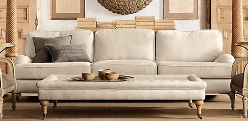 Restoration Hardware Tufted.Coffee.Ottoman Beautiful quilting. Could replace a coffee table or a chaise.