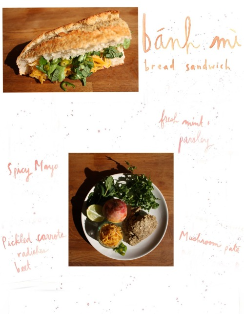 I've been wanting to attempt a vegetarian Banh Mi for some time. No better time like the present! I went with a mushroom paté when I was leafing through my favorite hippie cookbook, Cookbook for the New Age : Earth Water Fire Air. I'm pretty sure there is no better smell than onions, garlic and mushrooms cooking. Oh, what doesn't smell good? Pickled carrot and radish. I was carrying some leftovers (from my lunch) to dinner the other night when my friend forced me to throw out the jar.  *Also, I realize that it's supposed to be cilantro. Which is what I used for the actual picnic. Just not for the photo shoot. Ohlala.