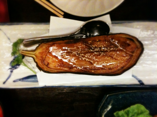 Grilled aubergine with miso paste. Mother of all dishes.