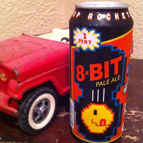 Ready to drink 8-Bit Pale Ale. (Jeepster toy in photo, btw.)