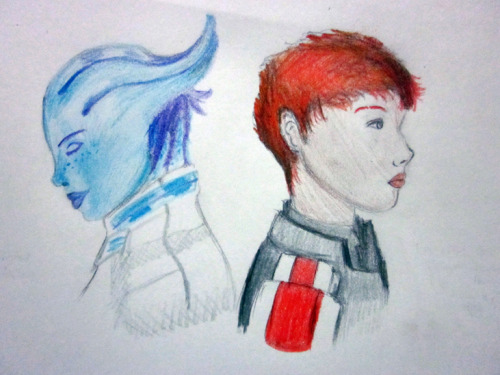"And as part of an art exchange, I made Liara and Fem!Shep fanart. x) Jules (from ""A Blind Purpose"") looks a lot like the Fem!Shep in this picture, except that she doesn't have red hair. My friend just loves redheads. ;D Shepard: I'm about to do the unthinkable, Liara. When the time comes, can I count on you to have my back? Liara: Always, Shepard. Always."