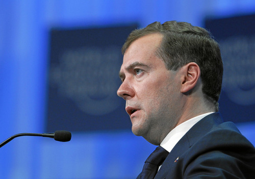 "Russia's Medvedev hits back after Romney comments ""Smacked of Hollywood"": In the aftermath of President Obama's awkward hot mic incident yesterday, his chief re-election rival, Mitt Romney, claimed that Russia was America's ""number one geopolitical foe."" Russian President Dmitry Medvedev, the man Obama was talking to during yesterday's gaffe, didn't take so kindly to that assertion. ""It's 2012, not the mid-1970s, and whatever party he belongs to, he must take the existing realities into account,"" he said, adding that the presidential field ought to ""rely on reason, use their heads… that's not harmful for a presidential candidate."" Of course, should Romney win in 2012, he won't be even dealing with Medvedev – it'll be incoming President Vladimir Putin, back in Russia's top spot after a four-year absence. (Photo by World Economic Forum) source Follow ShortFormBlog"