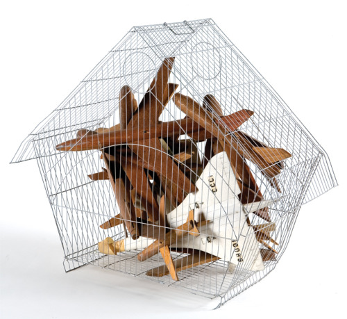 museumoflatinamericanart:  Esterio Segura Jaula de aviones 2,  2000 wood and plastic planes in a wire cage Gift of the artist, M.2009.016