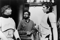 fuckyeahdirectors:  Mark Hamill, George Lucas and Harrison Ford on-set of Star Wars (1977)