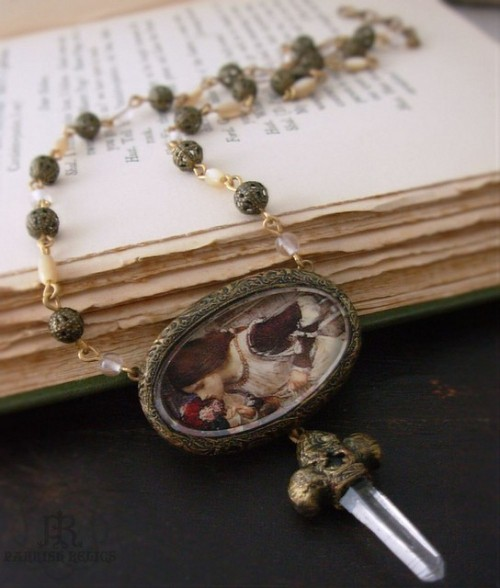 wheretreasuresreside:  The Shrine ~ J W Waterhouse pictorial pendant with crystal fleur de lis by Jen Parrish