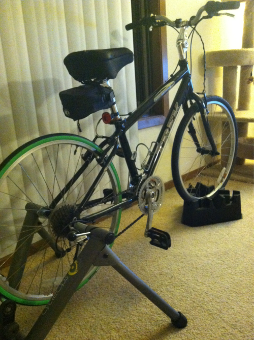 I think it might be time to retire the bike trainer for the season.   15.0 miles in 54:10. Average speed 16.7 mph. 781 calories burned.   Now if I only knew how to change the tube and tire myself. It is time to learn. There are a few tri's in my future. I can feel it.