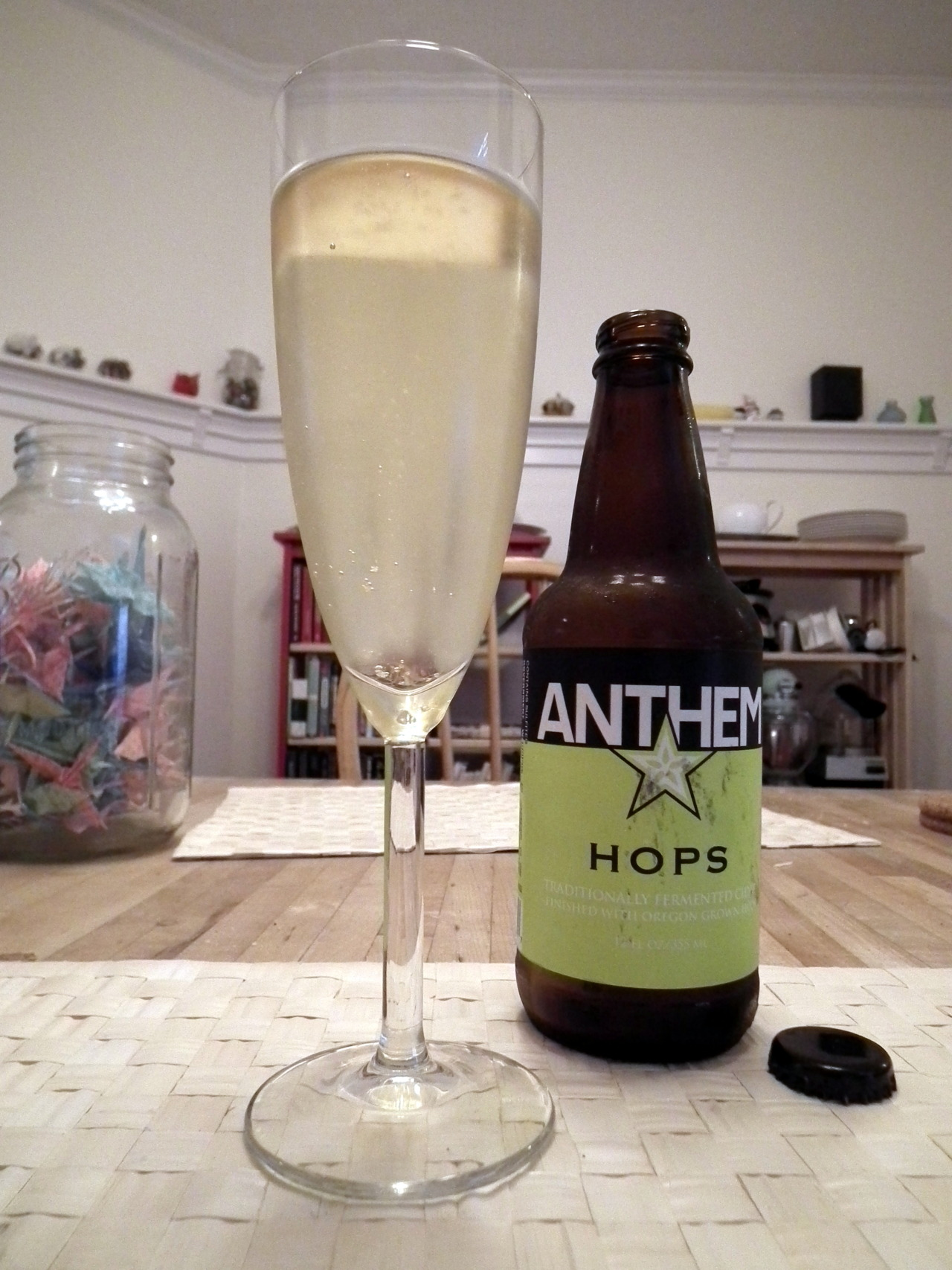 At the farmer's market last week we picked up a few Anthem ciders. They make a pear cider and this an apple cider finished with hops. It's actually not as weird as you might think. The hops add a little earthiness that compliments the dry finish.