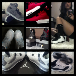 My small collection ^_^ J.retro1 (high sneaker purple) J.retro3 (cool grey flip) J.retro4 (voltage cherry/ love of the game edition) J.retro4 (cements) J.retro6 (laker edition) J.retro9 (charcoal) J.retro 10( chicago bulls) J.retro low11