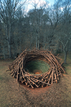 thingsorganizedneatly:  cordisre:  The Clemson Clay Nest was a public land art installation by Bavarian artist Nils-Udo that was constructed in the botanical gardens at Clemson University in South Carolina in 2005.  ed: Totally impressive. Found via Poler's blog. They're new friends of Things Organized Neatly. Check 'em out!