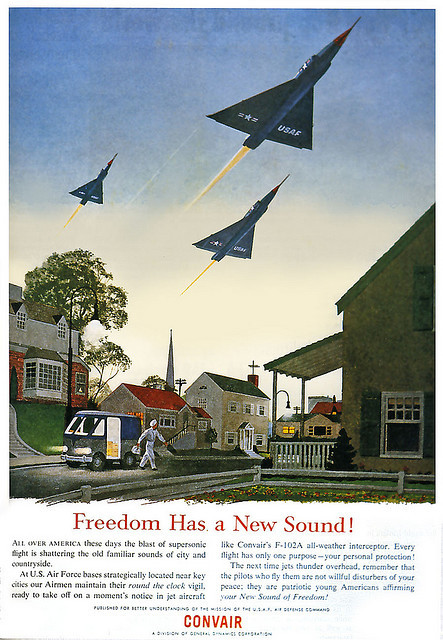 """Freedom Has a New Sound"", a Convair advert from the 1960s. Posted by x-ray delta one on Flickr (via)."