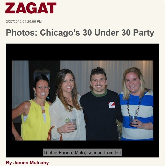 Zagat 30 under 30 | Chicago Last night, Simon and I slipped out for a rare Monday evening on the town! We joined our friends and some of the city's most wicked talented chefs & mixologists at Paris Club for Zagat's 30 Under 30 party.  It was a great scene…right up my alley! I spent the night making a mental tally of which chefs I have had the pleasure of dining with…and which places needed to be added to my must-do list.  I networked with some friendly faces from around the Chicago dining community and met a couple of folks who I had previously only read about on Eater.  I also had the chance to chat with a couple of Top Chefs (as in peeps from the show).  Bonus Points: I think I talked Richie, the sous-chef from Moto, into doing a cooking demo/talk at my office.  He even promised to bring some liquid nitrogen.  Score! But the highlight of my night had to be when I ran into my favorite sommelier in the city…Richard Richardson.  (I wrote about him here).  Richard was the man who guided us through our life-changing meal at Alinea one story/pour at a time.  Over the past few months, I have thought about that dinner often and replayed Richard's tales in my mind… and as a result this dude has been elevated to near celebrity status in our household!  When I spotted him his crazy hair lingering near the bar, I couldn't let the opportunity pass…and I marched right on up and laid it all out there!  I suppose most soms don't have their own fan-clubs, so when I explained meeting him was way cooler than getting face-time with Oprah, he couldn't help but laugh. While there was something slightly unsettling about the fact that Simon and I are too old to ever make this list…we sure took advantage of the chance to celebrate with these crazy (talented) kids! Photo from the Zagat Blog. somewhat related: Yes, I am wearing the same shirt I had on the day before at Hazel's Birthday party.  (please tell me I am not the only one who does this from time to time). For those who asked, the top is DVF.   I haven't bought any clothes for myself in ages, but my little-bump is just noticeable enough that investing in a pregnancy-friendly party-piece seemed necessary. I picked-up this flowy shirt at Neimans over the weekend while waiting for them to gift wrap Hazel's gift.  I justified my impulse buy by promising to drive the CPW (cost per wear) way down…so far so good….2 wears in 2 days….and if I had anything on the social calendar for tonight, you can bet I would have worn it again!