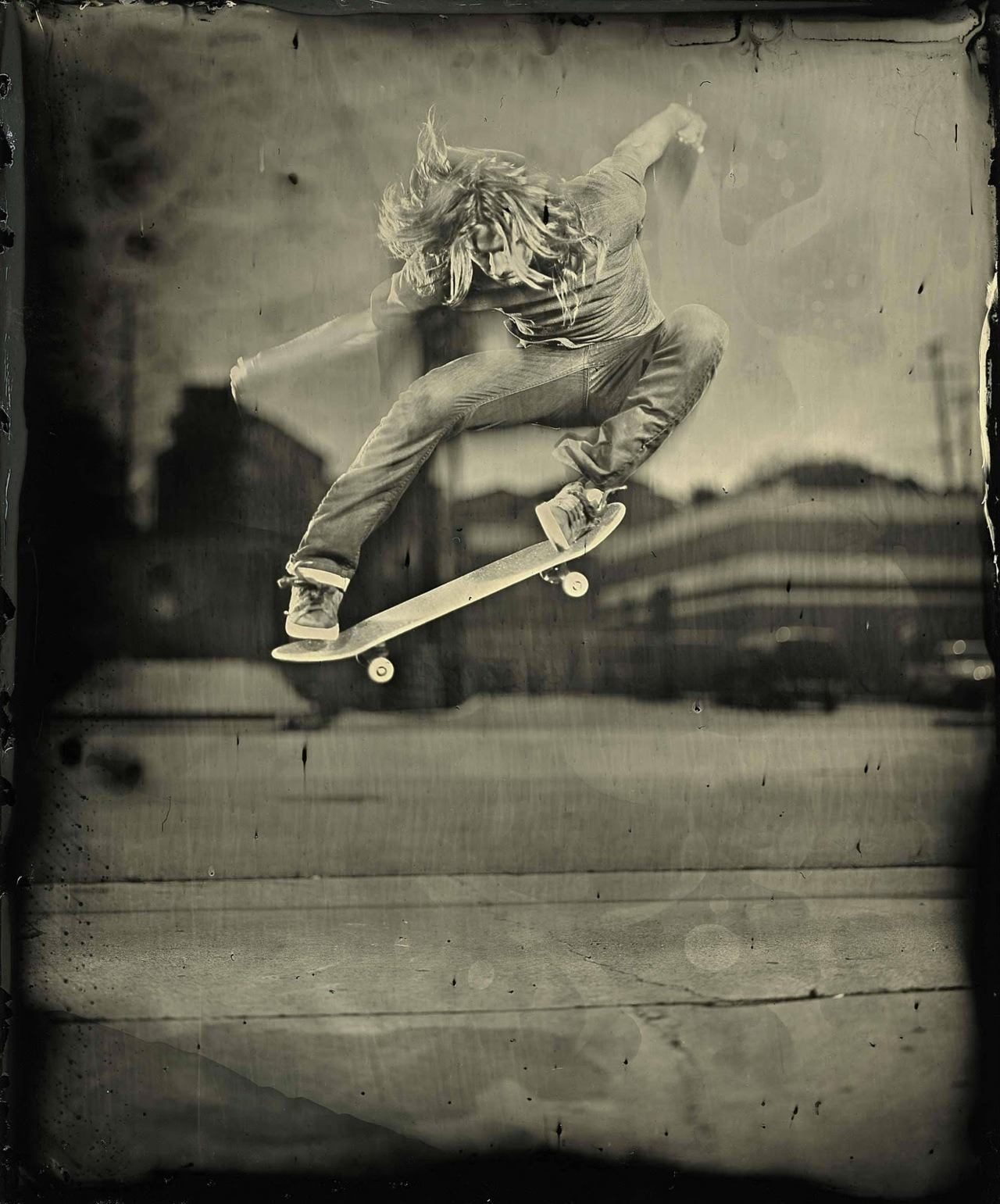 Levi Brown LA California. First ever skateboarding wet plate collodion.
