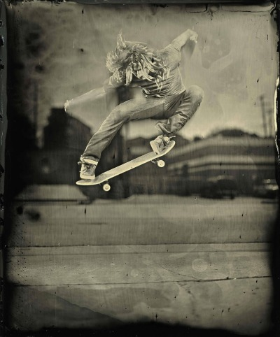 ianruhter:  Levi Brown LA California. First ever skateboarding wet plate collodion.