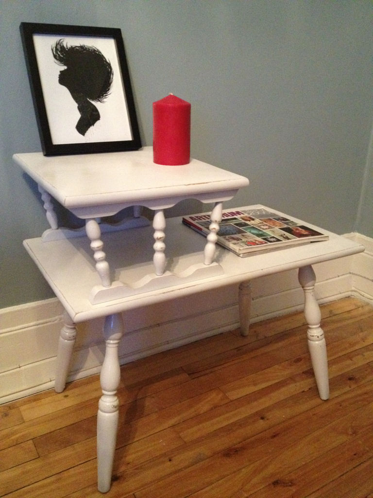 Distressed magazine rack/end table in glossy white, by lili&gen. Artwork by Charmaine Olivia. ~lili