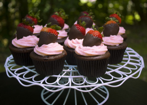 the-cupcakerie:  chocolate covered strawberry cupcakes (from ericasweettooth.com)