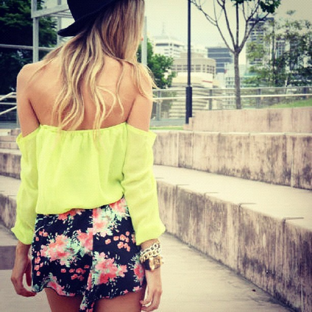 Oh my! Neon blouse just sold out, but we may put this up this afternoon since we are all loving neon! #saboskirt  (Taken with instagram)