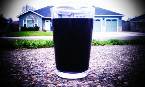 Full glass of grape Kool-Aid. Best drink ever. Maybe there is a lot of sugar in it, but still, it tastes so good. All I need is Kool-Aid and a Poptard for a snack and my life is complete.