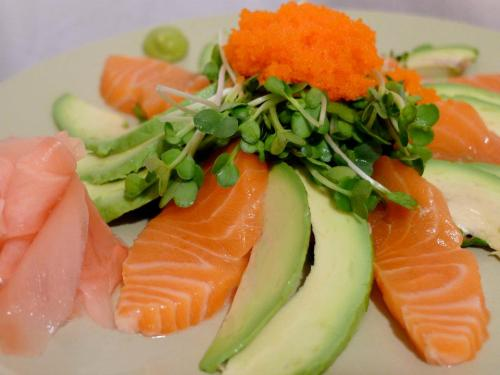 SALMON & AVOCADO SALADThe Japanese green sprout is called Kaiware, a bit bitter in taste.