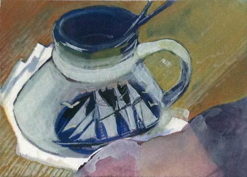 3/11/12 - watercolor & gouache Paint-water cup. Maybe when I finally get a chair in my apartment, I will paint it.