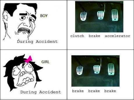 "thefuuuucomics:  During Accident: Boy VS Girl  This is fucking bullshit. I can out-drive ANY man. GTFO with this ""chicks don't know cars"" shit. I'll drag race you and we'll see who comes out on top…."