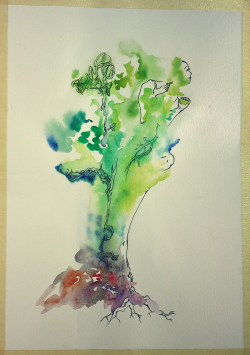 I've really started to enjoy watercolors as i continue to work with them. (I no longer curse their name in vane) So, needing to make a new cover to replace the currently deteriorating one on my sketchbook, I thought I'd experiment with watercolor in a more free flowing fashion than i normally do. The result is this! Totally DrawGabbyDraw inspired and i love it. Completely enamored with watercolor + ink. P.S. Jumped on an EatSleepDraw sketchbook this morning. Never bought one before. Totally Excited.
