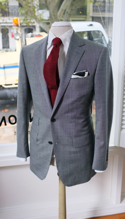 GREY + BORDEAUX FOR SUMMER patrickjohnsontailors:  Suit : Dugdale worsted Tie : Drakes for PJOHNSON For : ANKL