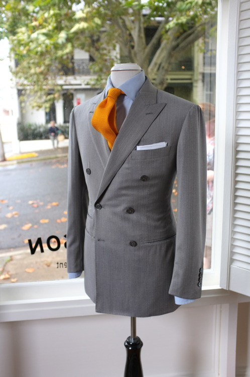 Grey Solaro…Something I need to look into… patrickjohnsontailors:  SUIT : Solaro DB Loro Piana Tie : Drakes for PJOHNSON FOR : PCJ