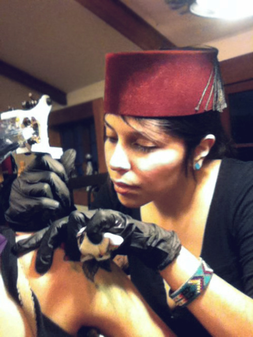 working…(real fez hat from Morocco!)