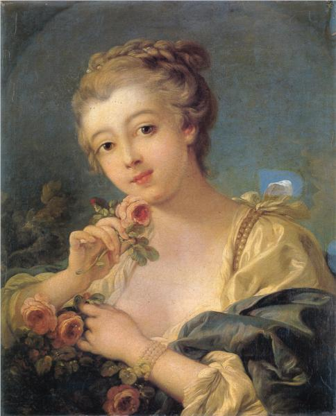 Francois Boucher - Young Woman with a Bouquet of Roses ( c. Late 1700s)