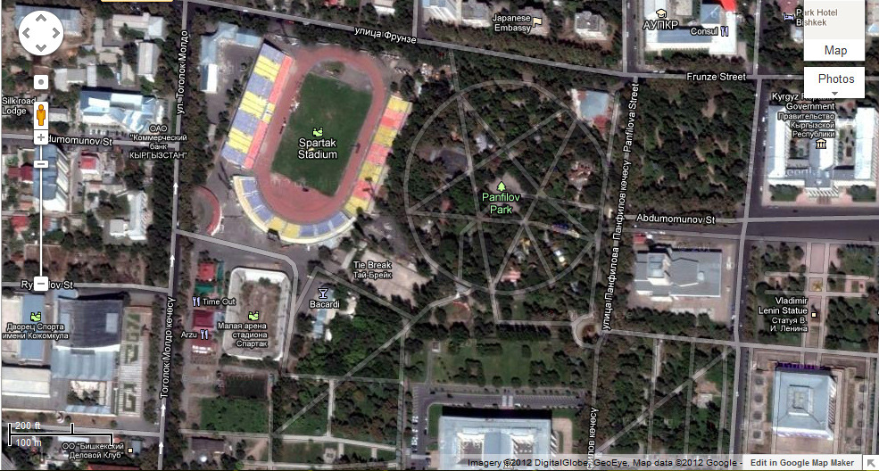 Did anybody ever notice that Panfilov Park is shaped like a pentagram? Google Map image of Bishkek, Kyrgyzstan.
