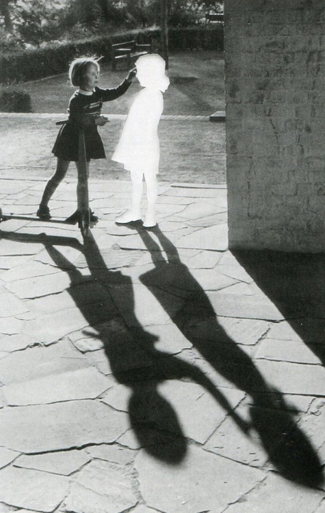 museumuesum:  Hans-Peter Feldmann Untitled (Two girls with a shadow). Clipped image pasted on cardboard and framed. 60 x 80 cm.