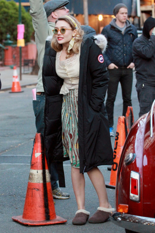 suicideblonde:  Elizabeth Olsen on the set of Kill Your Darlings in NYC, March 26th