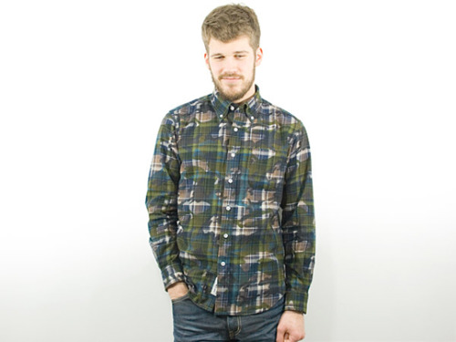 Sophnet camouflage button up shirt.