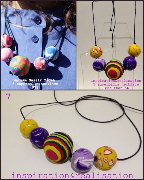 DIY Maryam Nassir Zadeh Inspired Superball Necklace. This is one of the funnest DIYs I've posted. You do need a drill for the superballs, but I love this idea! Another super creative idea and tutorial from Inspiration and Realisation here.