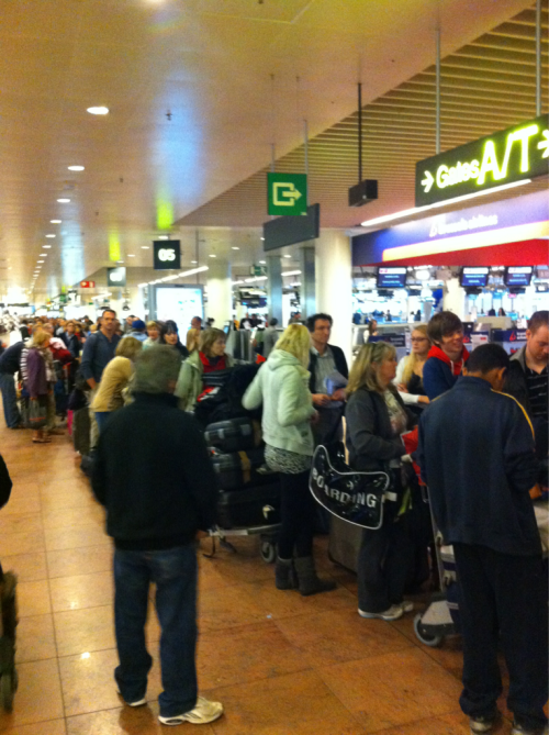 A marvel of European efficiency. 3 hour check-in line at the airport. (@zbgoodwin)