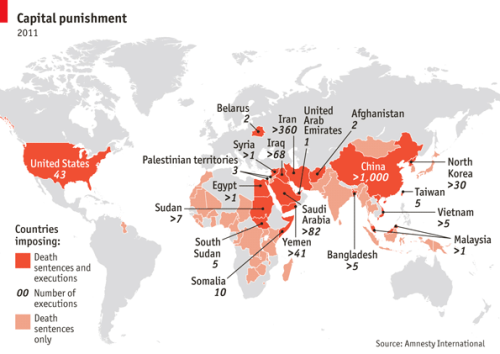 theeconomist:  Daily chart: capital punishment. Last year only four countries carried out public executions: Saudi Arabia, Iran, North Korea and Somalia. But there are still plenty of countries that impose the death penalty behind closed doors.