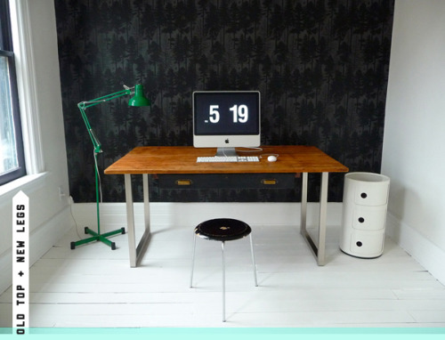 Nice touch on work tables from Door16 (via Big fat work tables. | Door Sixteen)