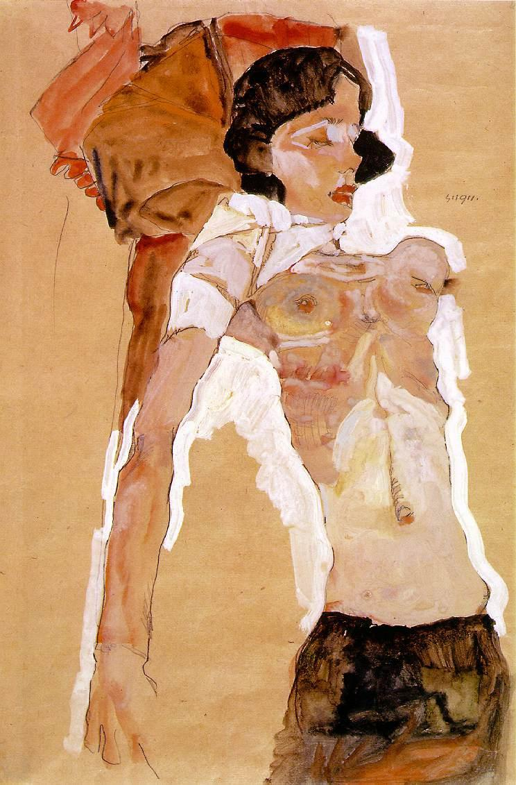 flommus:  Egon Schiele, Semi-Nude Girl, Reclining, 1911. 'Egon Schiele insisted that the erotic is as heroic a subject as wars or religion. He combined high art and pornography in a manner only possible in radical Vienna of the pre-first world war years. But it still landed him in jail …' —Jonathan Jones, The Guardian, 2003